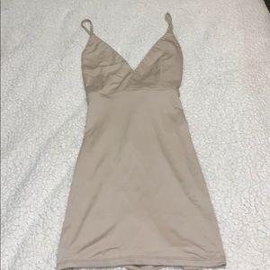 Nude/cream mini body con dress, never worn!